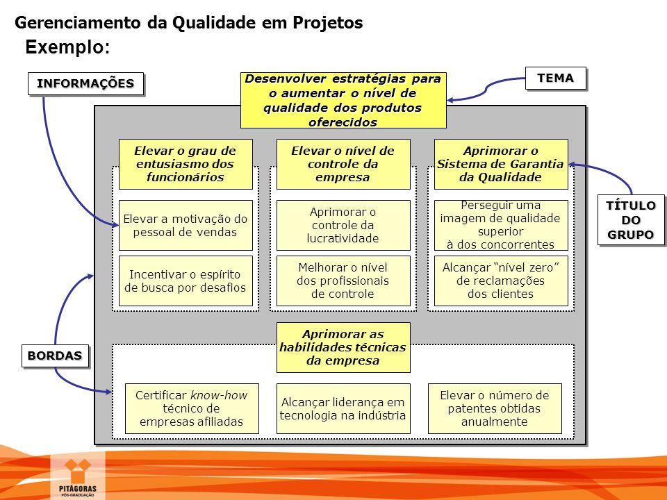 Exemplo: Elevar o nível de controle da empresa. Aprimorar o Sistema de Garantia da Qualidade. Elevar a motivação do pessoal de vendas.