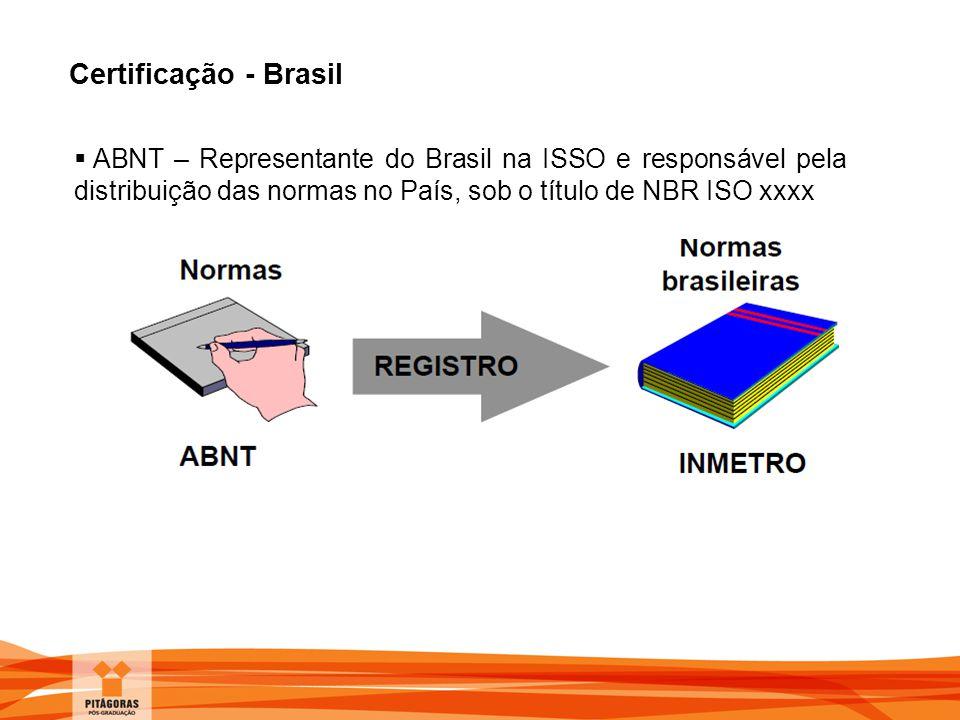 Certificação - Brasil ABNT – Representante do Brasil na ISSO e responsável pela distribuição das normas no País, sob o título de NBR ISO xxxx.