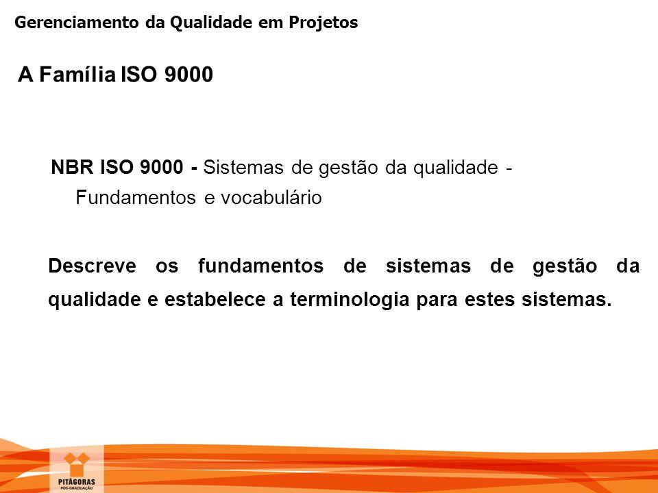 A Família ISO 9000 NBR ISO 9000 - Sistemas de gestão da qualidade - Fundamentos e vocabulário.