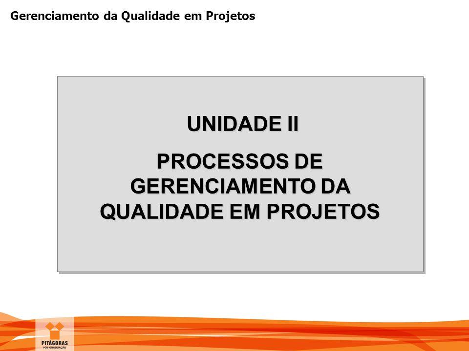 PROCESSOS DE GERENCIAMENTO DA QUALIDADE EM PROJETOS