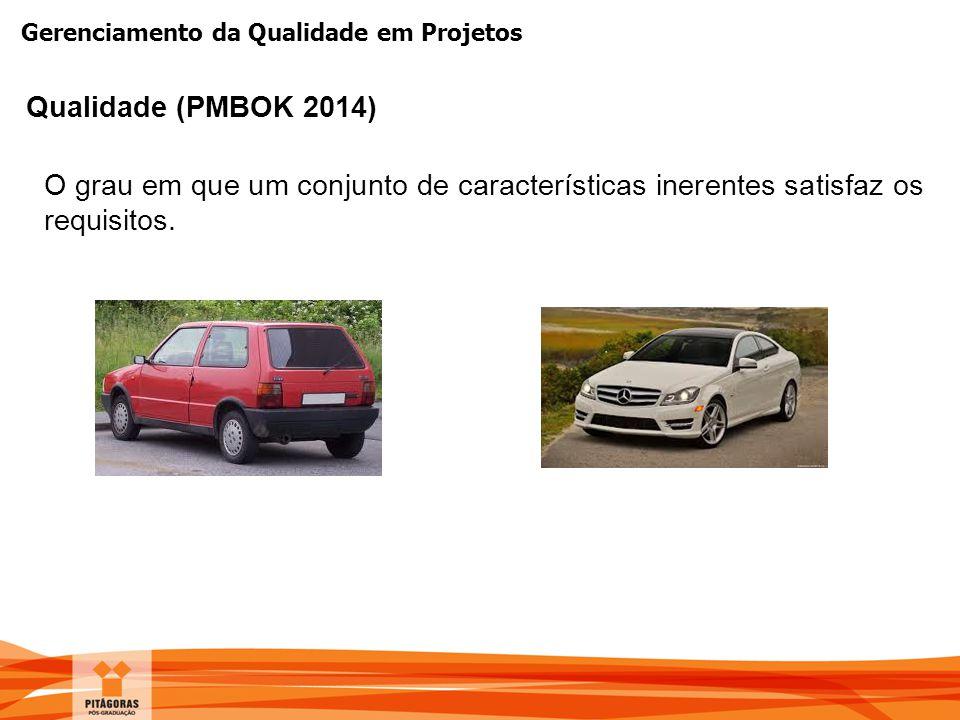 Qualidade (PMBOK 2014) O grau em que um conjunto de características inerentes satisfaz os requisitos.