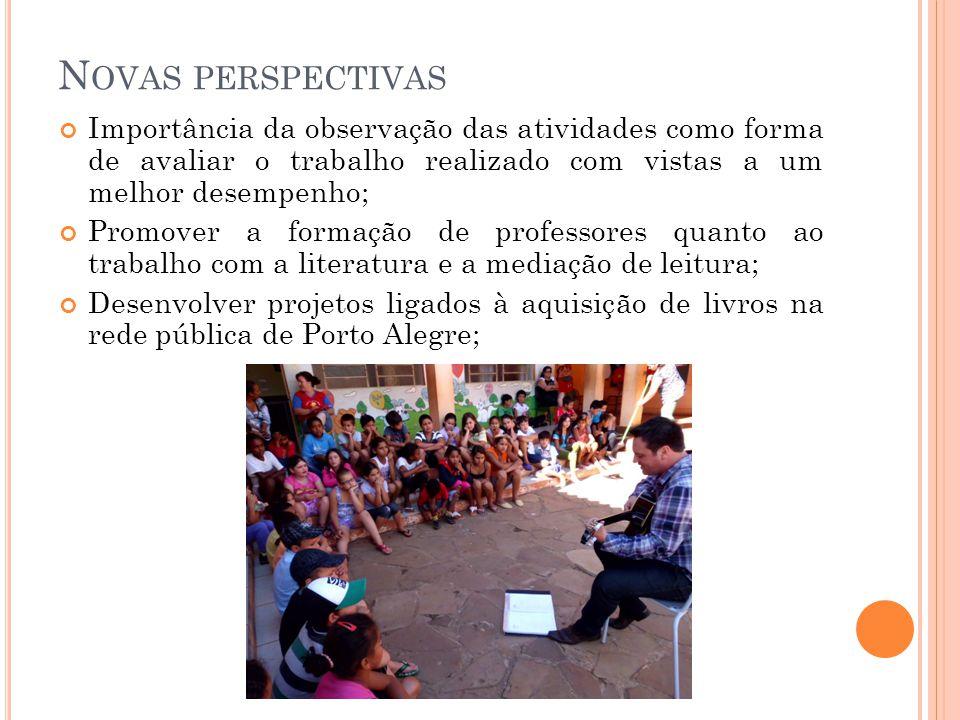 Novas perspectivas Importância da observação das atividades como forma de avaliar o trabalho realizado com vistas a um melhor desempenho;