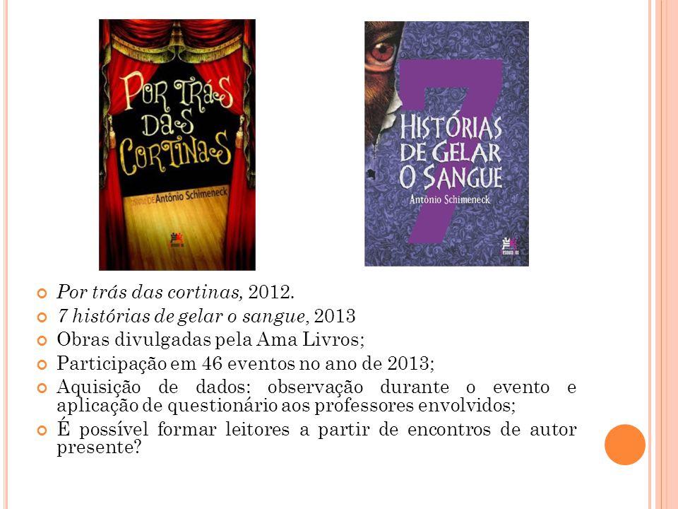Por trás das cortinas, 2012. 7 histórias de gelar o sangue, 2013. Obras divulgadas pela Ama Livros;