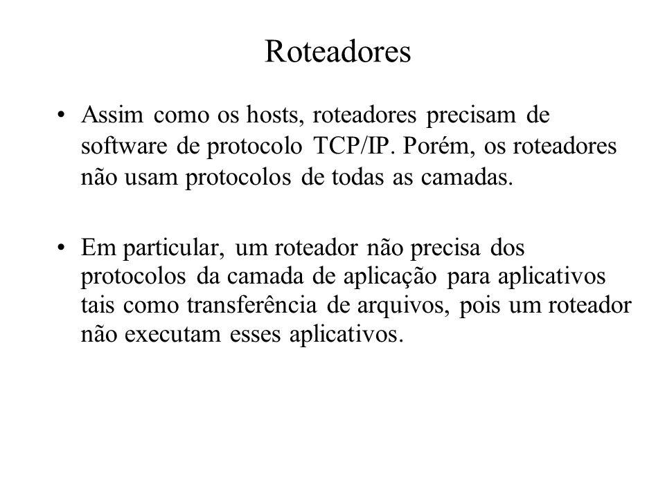 Roteadores Assim como os hosts, roteadores precisam de software de protocolo TCP/IP. Porém, os roteadores não usam protocolos de todas as camadas.
