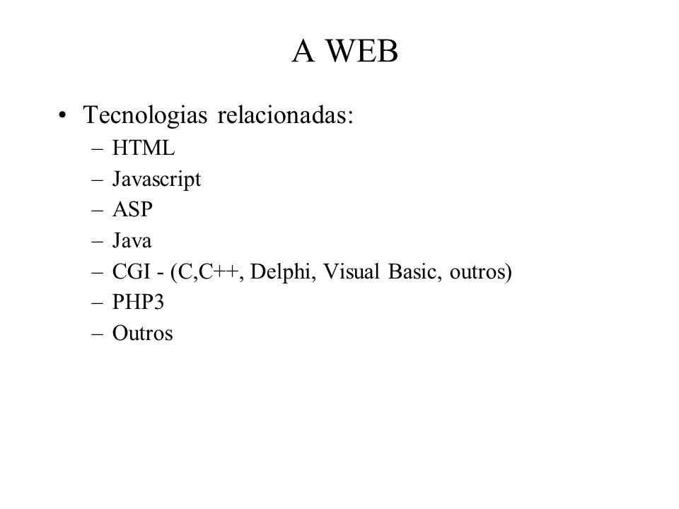 A WEB Tecnologias relacionadas: HTML Javascript ASP Java