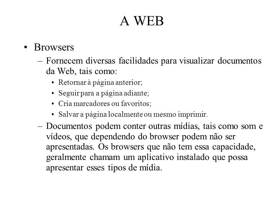 A WEB Browsers. Fornecem diversas facilidades para visualizar documentos da Web, tais como: Retornar à página anterior;