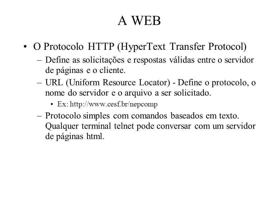 A WEB O Protocolo HTTP (HyperText Transfer Protocol)