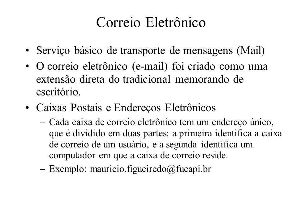 Correio Eletrônico Serviço básico de transporte de mensagens (Mail)