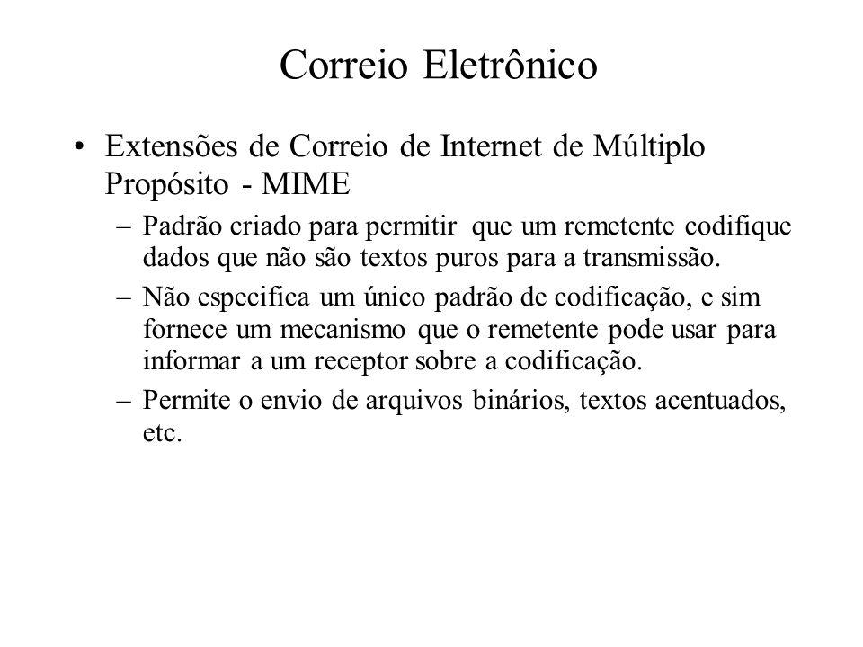 Correio Eletrônico Extensões de Correio de Internet de Múltiplo Propósito - MIME.