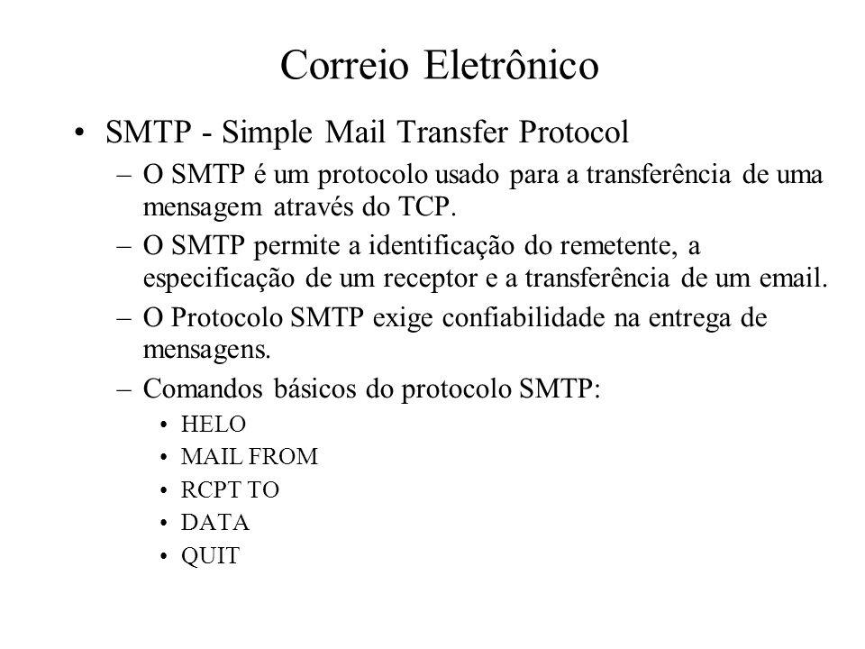 Correio Eletrônico SMTP - Simple Mail Transfer Protocol