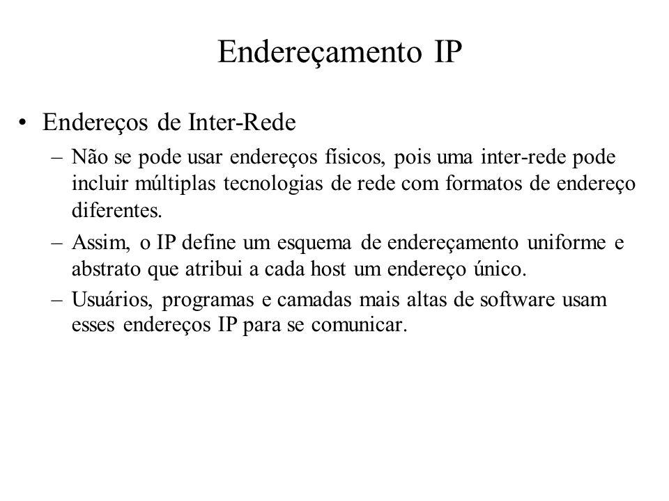 Endereçamento IP Endereços de Inter-Rede
