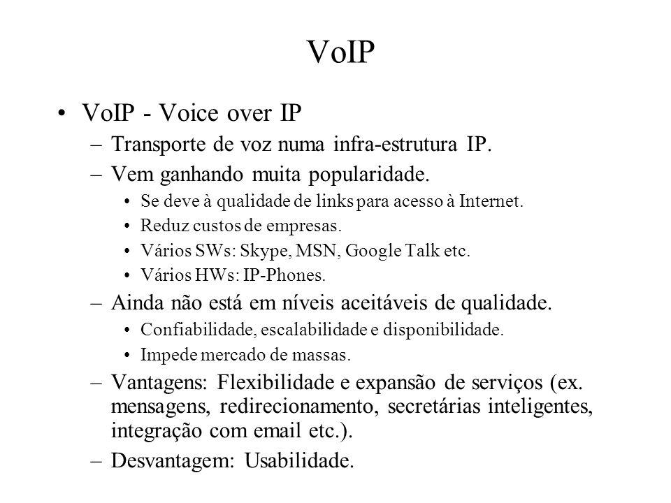VoIP VoIP - Voice over IP Transporte de voz numa infra-estrutura IP.