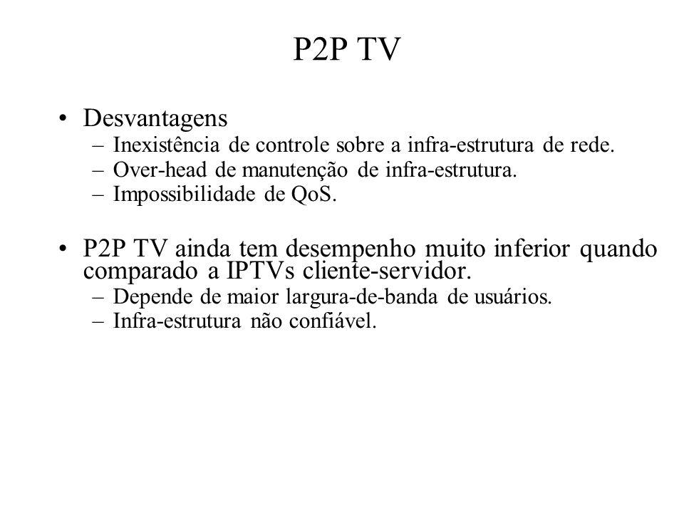 P2P TV Desvantagens. Inexistência de controle sobre a infra-estrutura de rede. Over-head de manutenção de infra-estrutura.