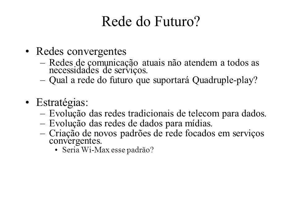 Rede do Futuro Redes convergentes Estratégias: