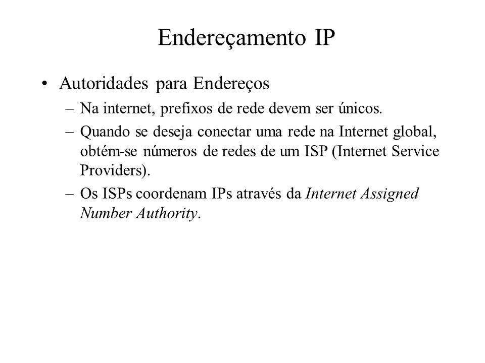 Endereçamento IP Autoridades para Endereços
