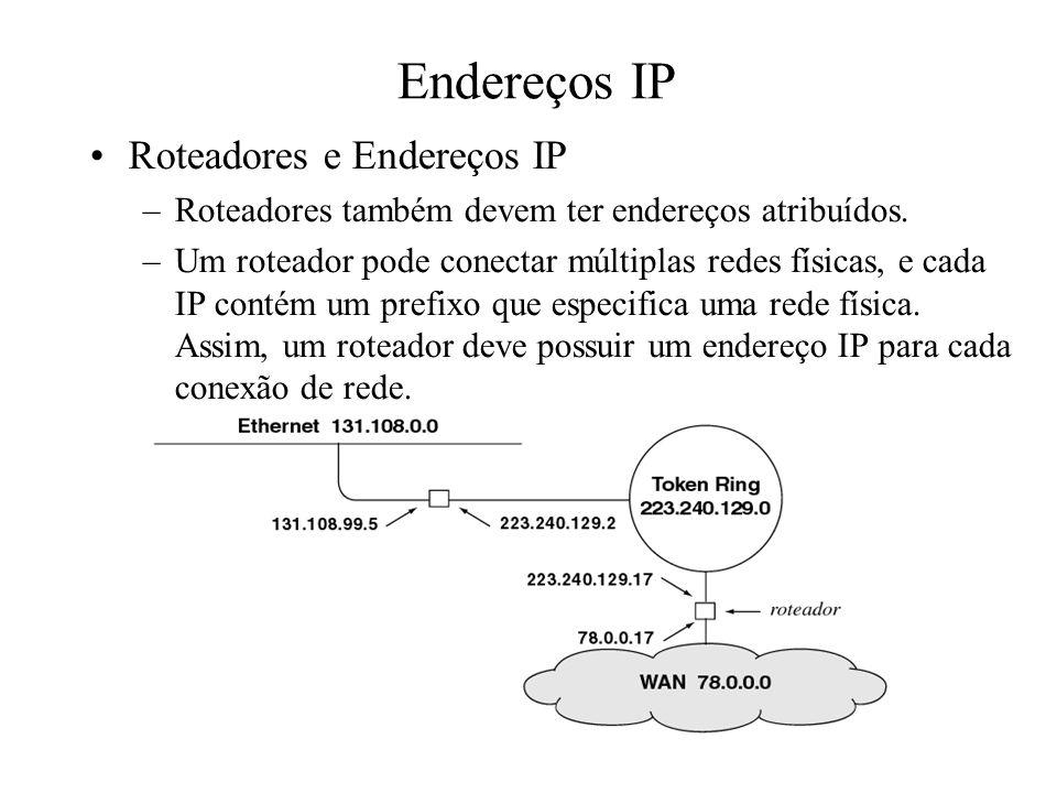 Endereços IP Roteadores e Endereços IP