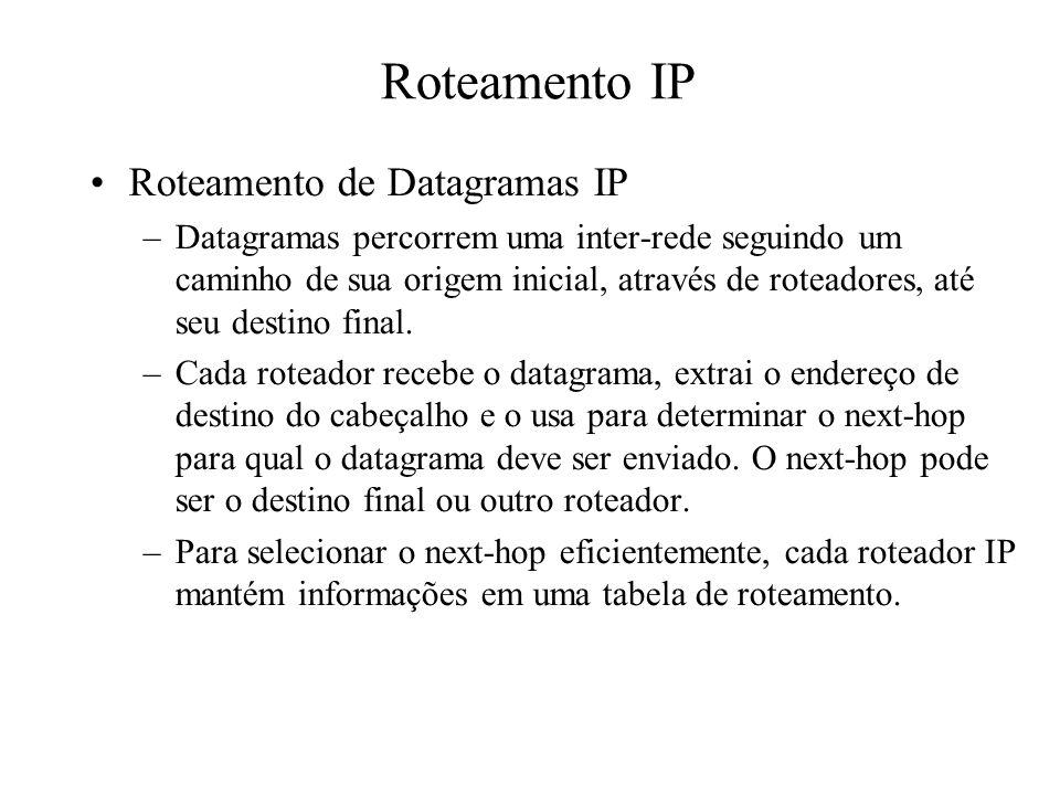 Roteamento IP Roteamento de Datagramas IP