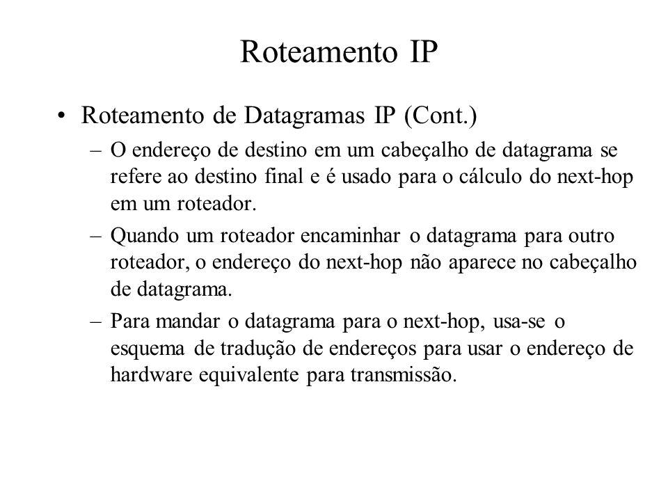 Roteamento IP Roteamento de Datagramas IP (Cont.)