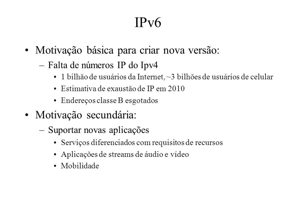 IPv6 Motivação básica para criar nova versão: Motivação secundária: