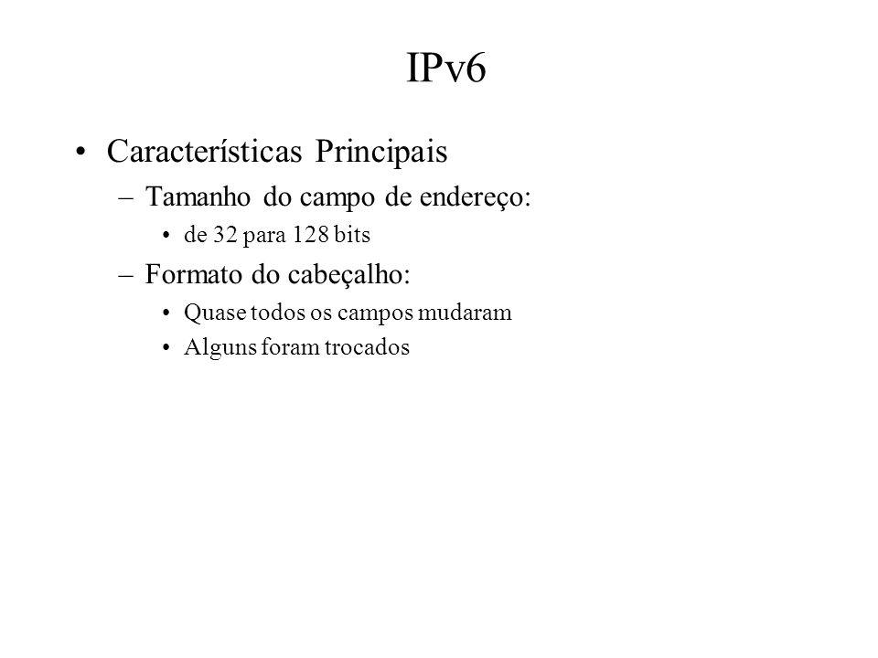IPv6 Características Principais Tamanho do campo de endereço: