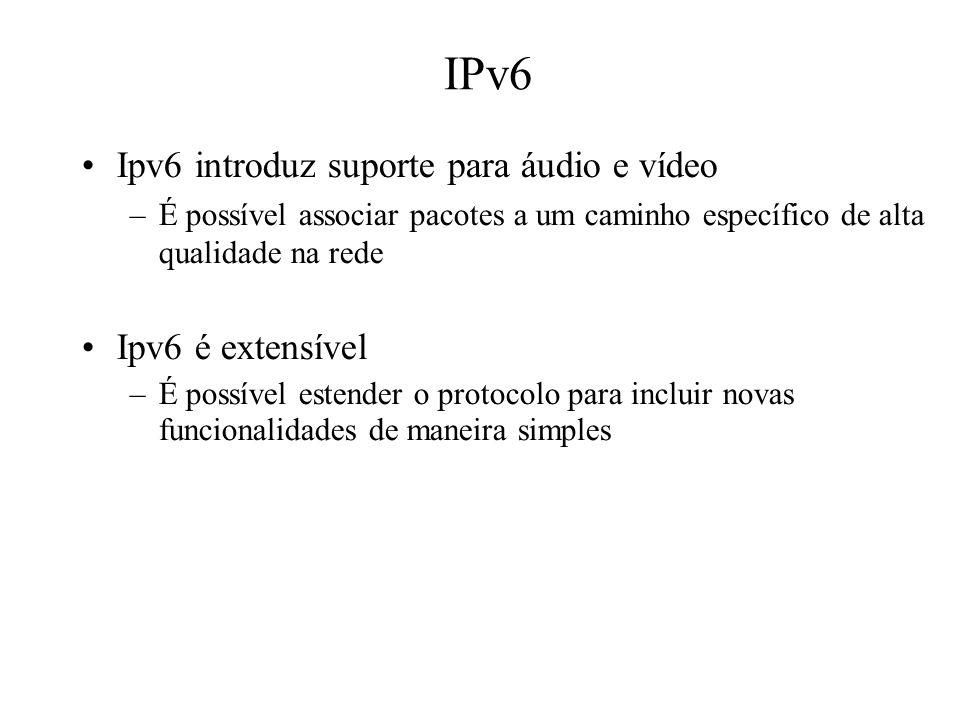 IPv6 Ipv6 introduz suporte para áudio e vídeo Ipv6 é extensível