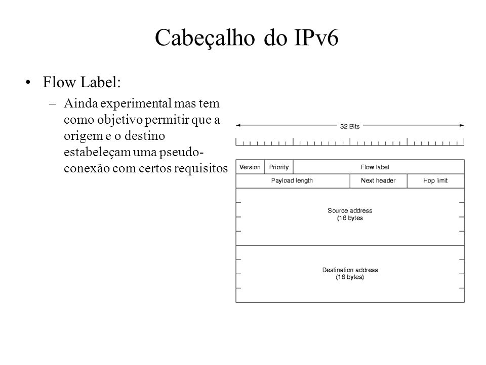 Cabeçalho do IPv6 Flow Label: