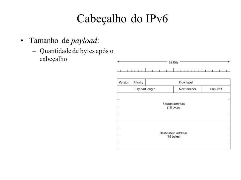 Cabeçalho do IPv6 Tamanho de payload: