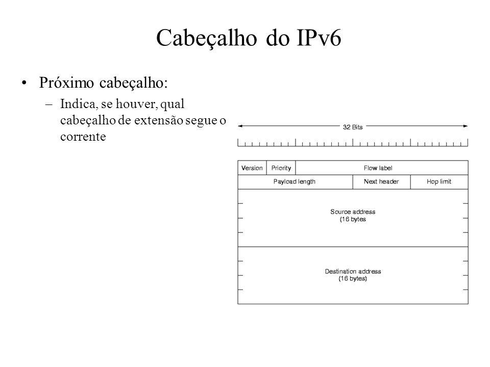 Cabeçalho do IPv6 Próximo cabeçalho: