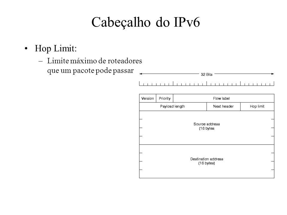 Cabeçalho do IPv6 Hop Limit:
