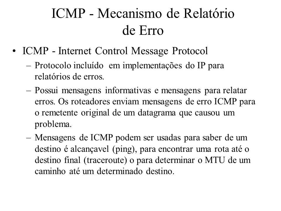 ICMP - Mecanismo de Relatório de Erro