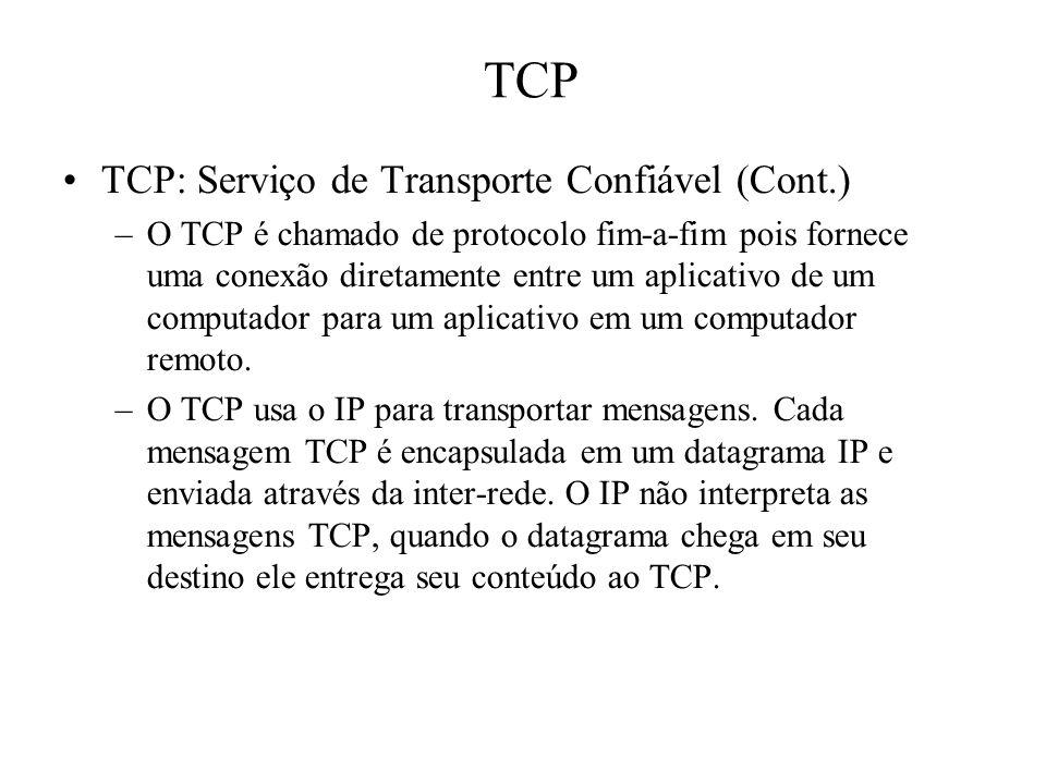 TCP TCP: Serviço de Transporte Confiável (Cont.)