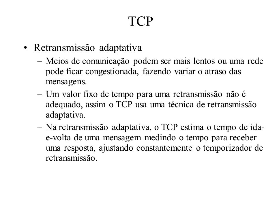 TCP Retransmissão adaptativa
