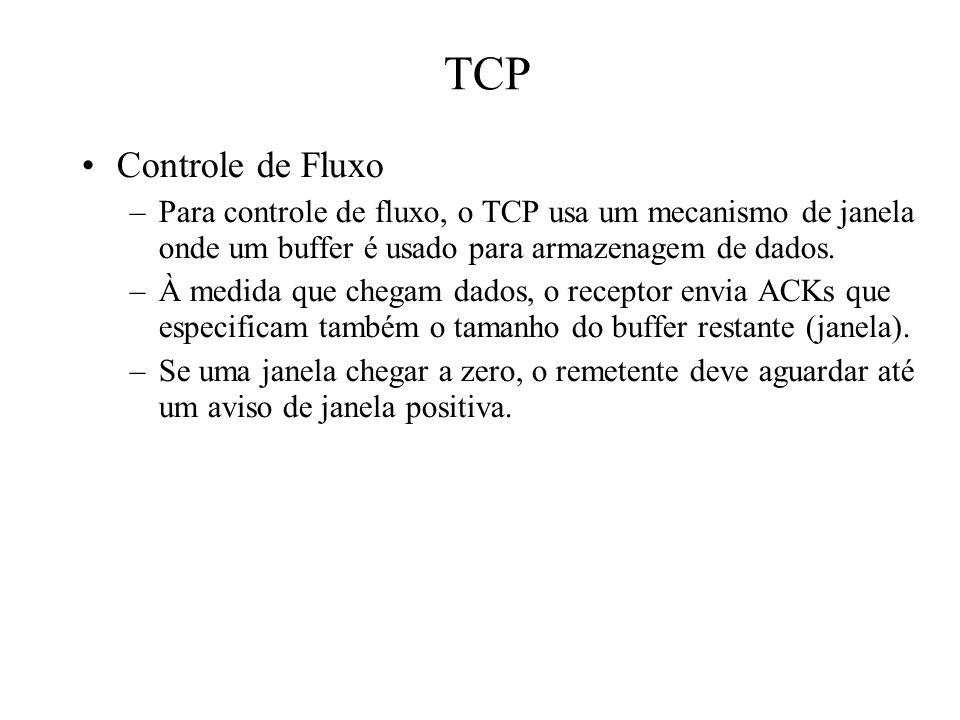 TCP Controle de Fluxo. Para controle de fluxo, o TCP usa um mecanismo de janela onde um buffer é usado para armazenagem de dados.