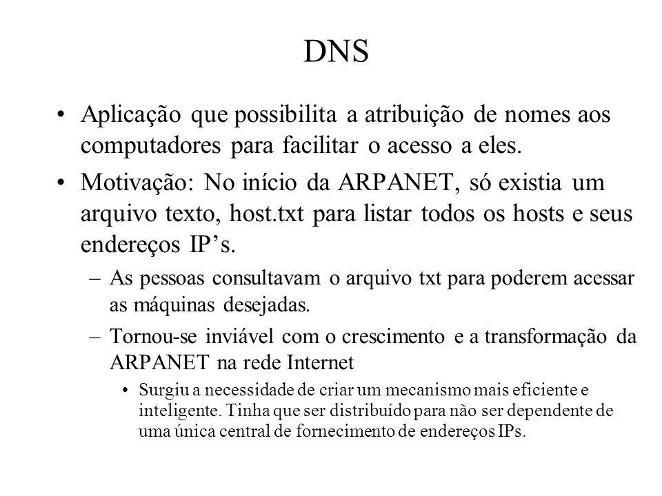 DNS Aplicação que possibilita a atribuição de nomes aos computadores para facilitar o acesso a eles.