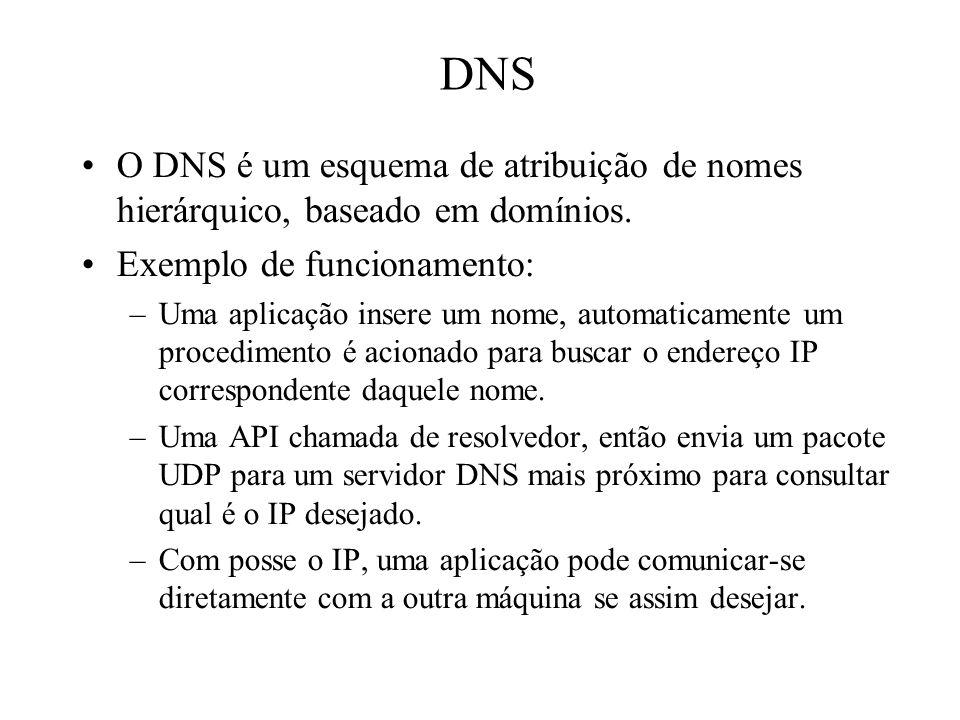 DNS O DNS é um esquema de atribuição de nomes hierárquico, baseado em domínios. Exemplo de funcionamento: