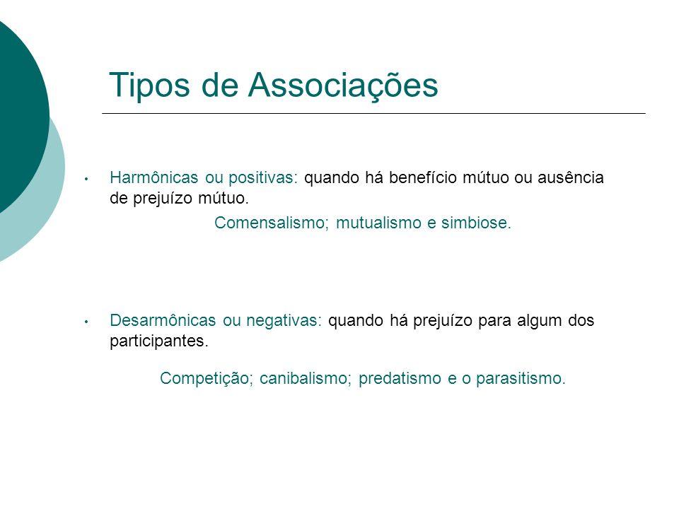 Tipos de Associações Harmônicas ou positivas: quando há benefício mútuo ou ausência de prejuízo mútuo.