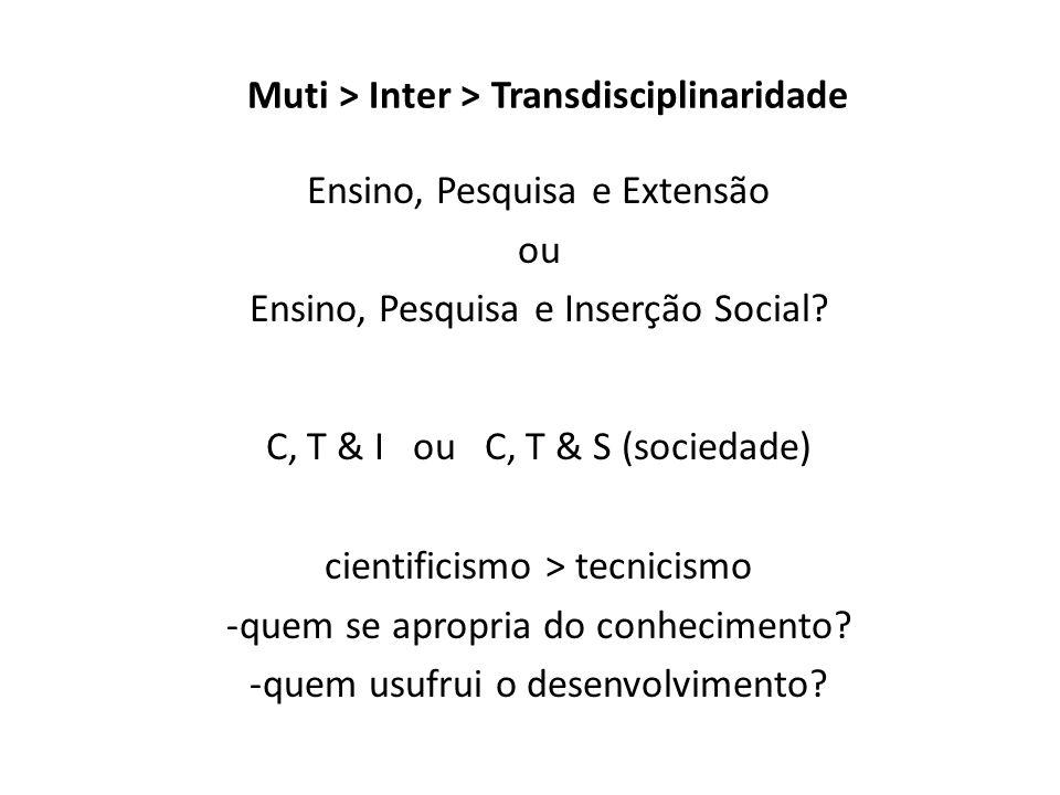 Muti > Inter > Transdisciplinaridade