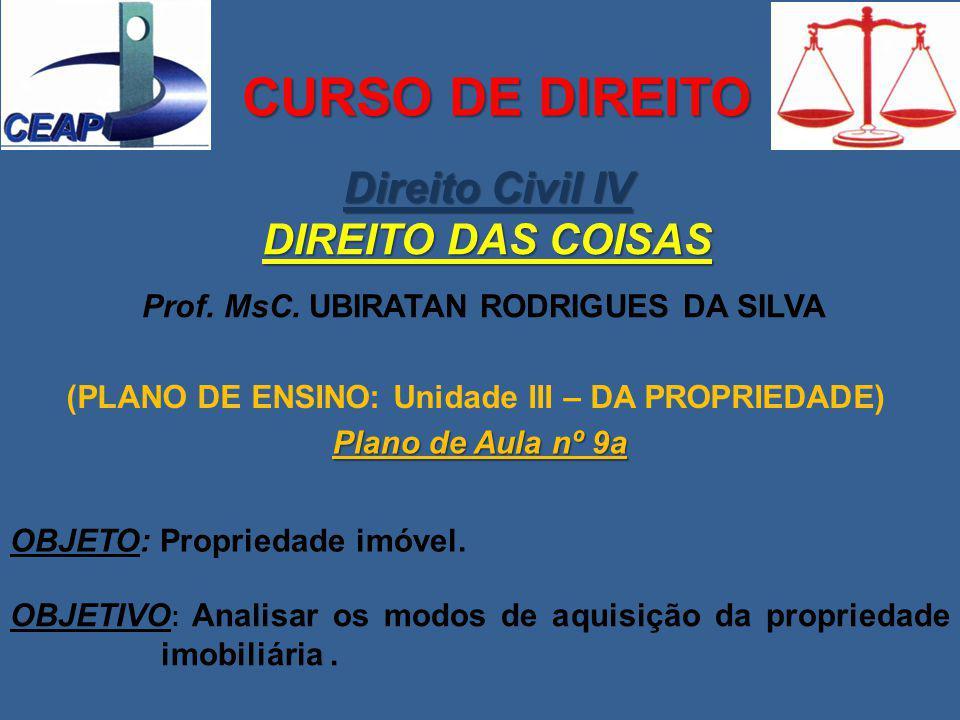 CURSO DE DIREITO Direito Civil IV DIREITO DAS COISAS