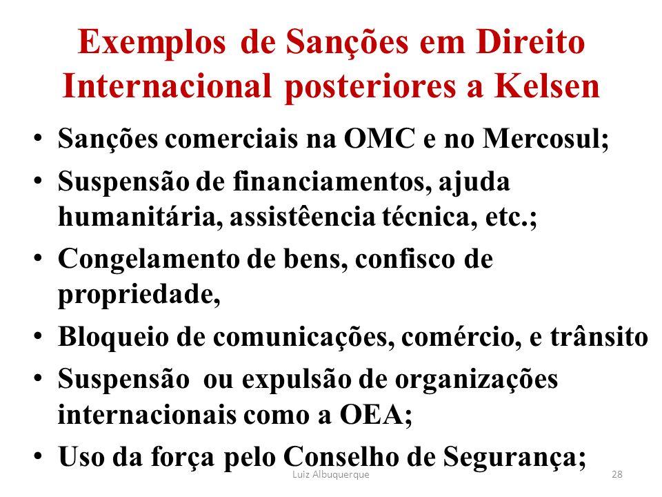 Exemplos de Sanções em Direito Internacional posteriores a Kelsen