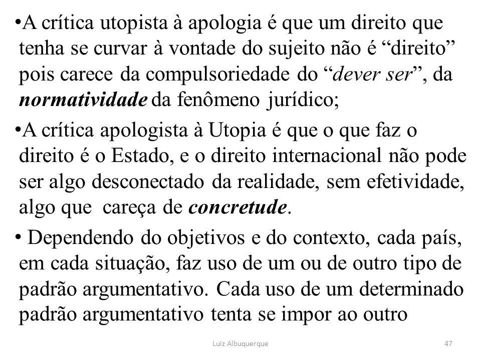 A crítica utopista à apologia é que um direito que tenha se curvar à vontade do sujeito não é direito pois carece da compulsoriedade do dever ser , da normatividade da fenômeno jurídico;