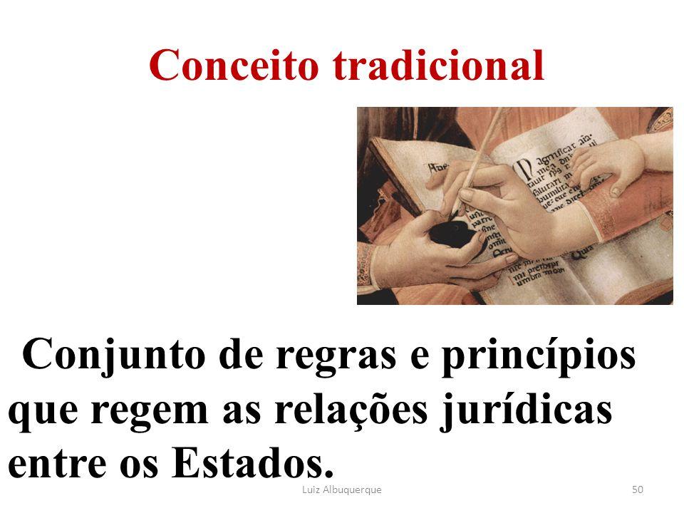 Conceito tradicional Conjunto de regras e princípios que regem as relações jurídicas entre os Estados.