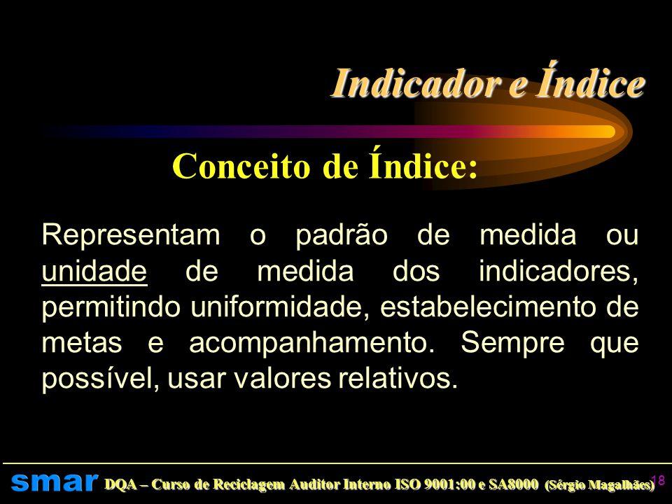 Indicador e Índice Conceito de Índice: