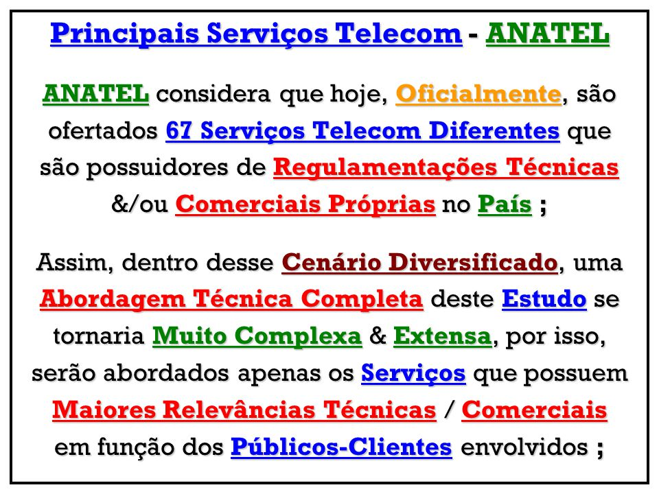 Principais Serviços Telecom - ANATEL