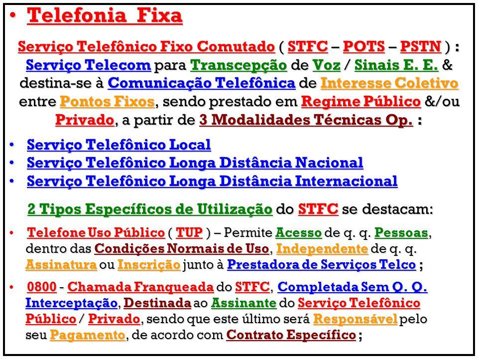 Telefonia Fixa Serviço Telefônico Fixo Comutado ( STFC – POTS – PSTN ) : Serviço Telecom para Transcepção de Voz / Sinais E. E. &