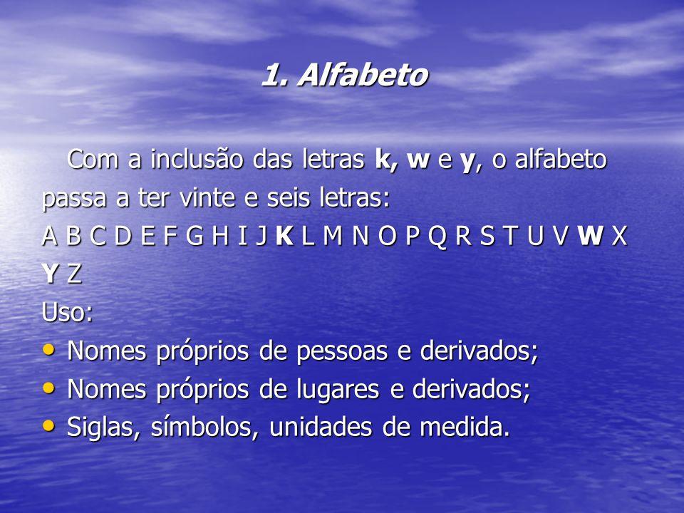 1. Alfabeto Com a inclusão das letras k, w e y, o alfabeto