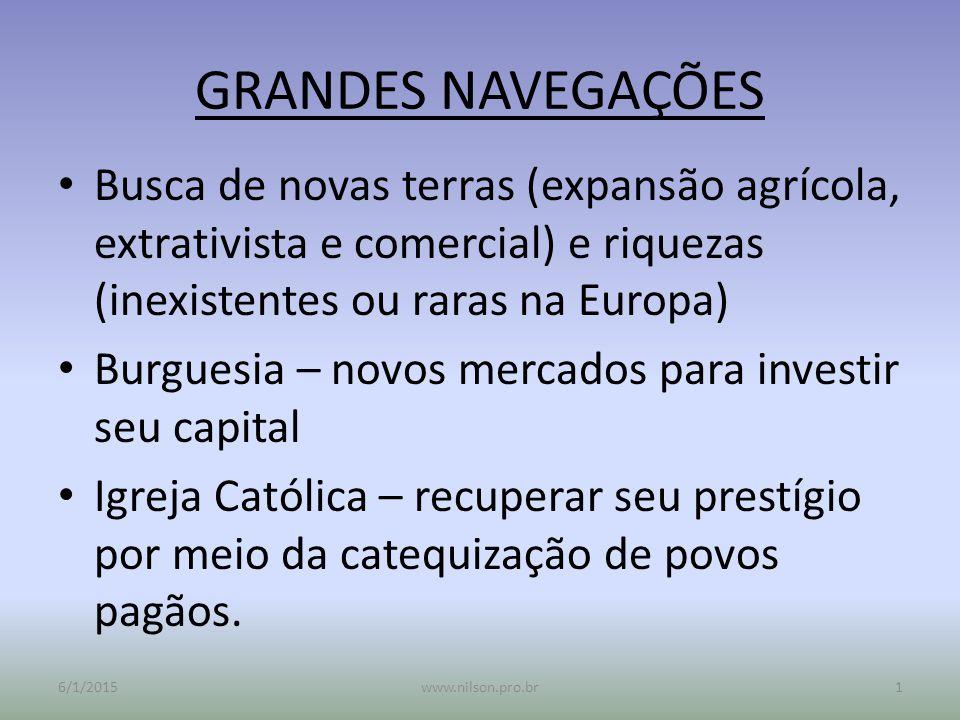GRANDES NAVEGAÇÕES Busca de novas terras (expansão agrícola, extrativista e comercial) e riquezas (inexistentes ou raras na Europa)