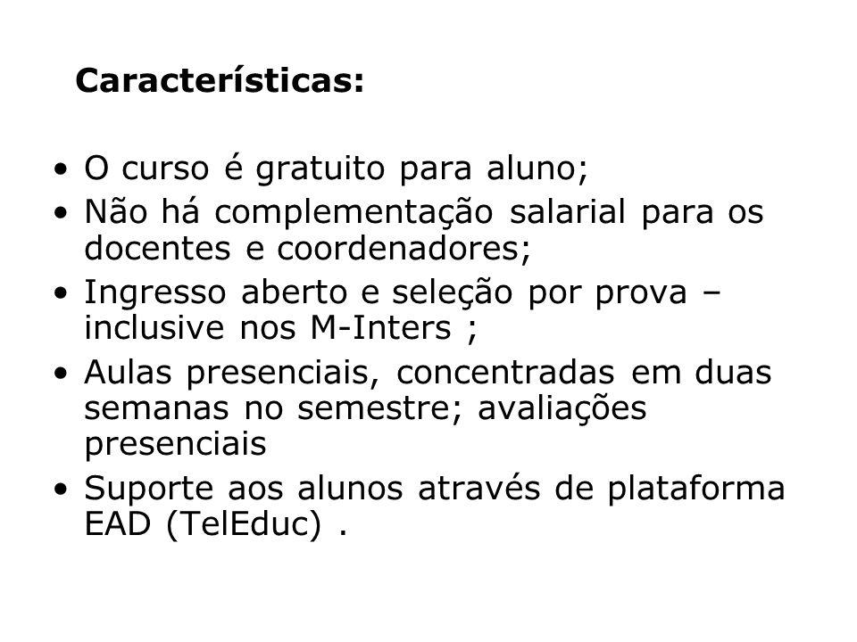 Características: O curso é gratuito para aluno; Não há complementação salarial para os docentes e coordenadores;