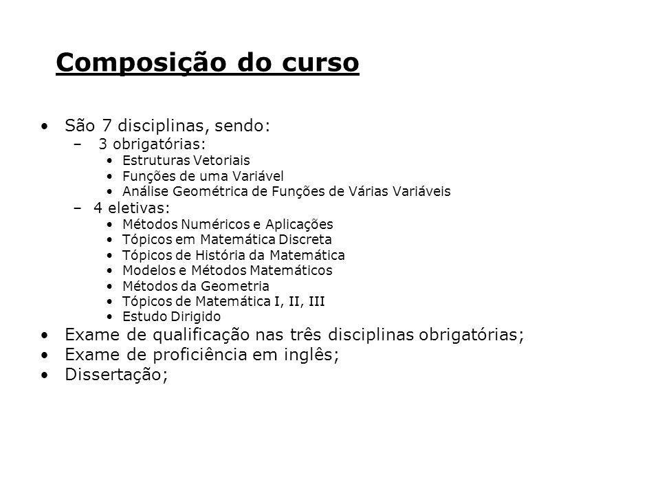 Composição do curso São 7 disciplinas, sendo: