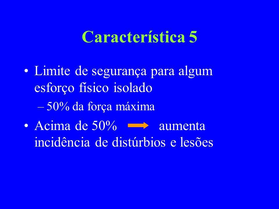 Característica 5 Limite de segurança para algum esforço físico isolado