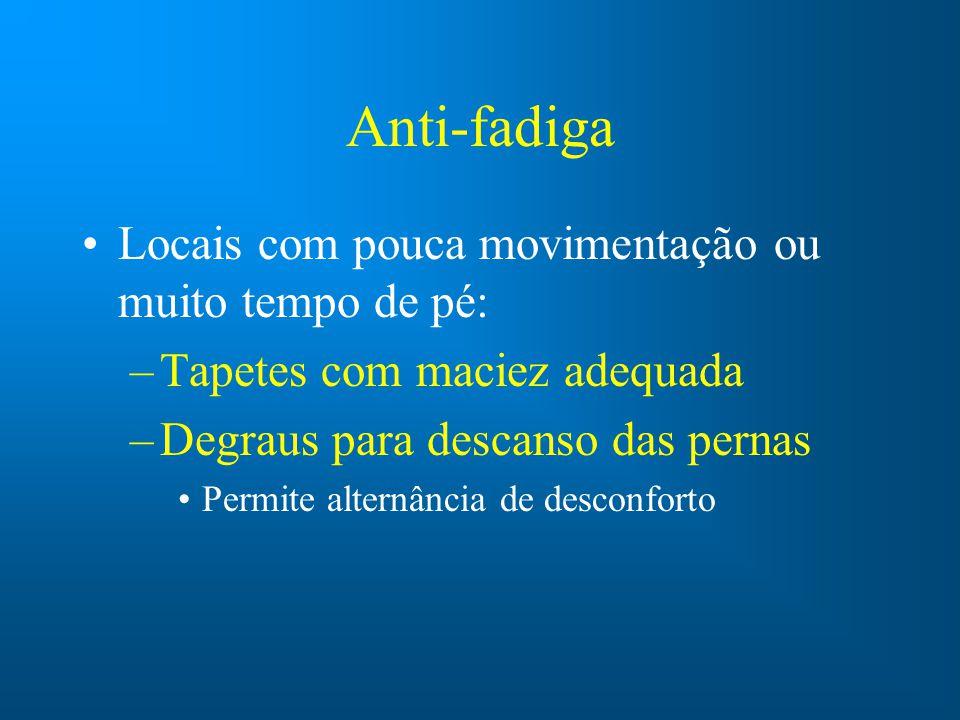 Anti-fadiga Locais com pouca movimentação ou muito tempo de pé: